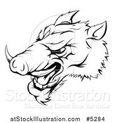 Vector Illustration of a Black and White Aggressive Razorback Boar Sports Mascot by AtStockIllustration