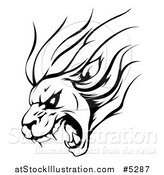 Vector Illustration of a Black and White Aggressive Roaring Lion Sports Mascot by AtStockIllustration