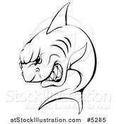Vector Illustration of a Black and White Aggressive Shark Sports Mascot by AtStockIllustration