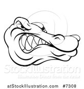 Vector Illustration of a Black and White Aggressive Snarling Alligator Mascot Head by AtStockIllustration