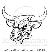 Vector Illustration of a Black and White Aggressive Snarling Bull by AtStockIllustration