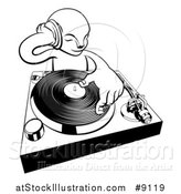Vector Illustration of a Black and White Alien Dj at a Turntable by AtStockIllustration