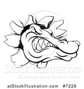 Vector Illustration of a Black and White Alligator or Crocodile Head Breaking Through a Wall by AtStockIllustration