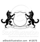 Vector Illustration of a Black and White Alsatian Dog Coat of Arms Shield with a Collar by AtStockIllustration