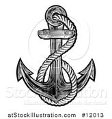 Vector Illustration of a Black and White Anchor with Rope in Tattoo Style by AtStockIllustration
