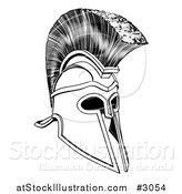 Vector Illustration of a Black and White Ancient Corinthian or Spartan Helmet by AtStockIllustration