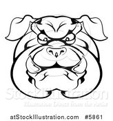 Vector Illustration of a Black and White Angry Bulldog Face by AtStockIllustration
