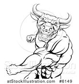 Vector Illustration of a Black and White Angry Muscular Bull or Minotaur Man Mascot Punching by AtStockIllustration