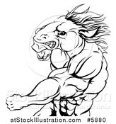 Vector Illustration of a Black and White Angry Muscular Horse Man Punching by AtStockIllustration