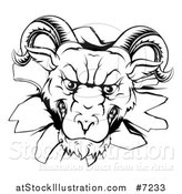 Vector Illustration of a Black and White Angry Snarling Ram Breaking Through a Wall by AtStockIllustration