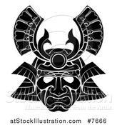 Vector Illustration of a Black and White Asian Samurai Mask by AtStockIllustration