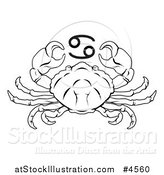 Vector Illustration of a Black and White Astrology Zodiac Cancer Crab and Symbol by AtStockIllustration