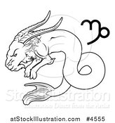Vector Illustration of a Black and White Astrology Zodiac Capricorn Sea Goat and Symbol by AtStockIllustration