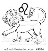 Vector Illustration of a Black and White Astrology Zodiac Leo Lion and Symbol by AtStockIllustration