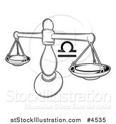Vector Illustration of a Black and White Astrology Zodiac Libra Scales and Symbol by AtStockIllustration