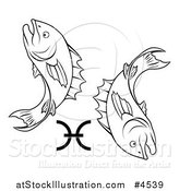 Vector Illustration of a Black and White Astrology Zodiac Pisces Fish and Symbol by AtStockIllustration