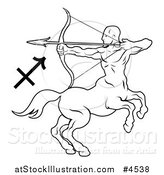 Vector Illustration of a Black and White Astrology Zodiac Sagittarius Centaur and Symbol by AtStockIllustration