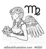 Vector Illustration of a Black and White Astrology Zodiac Virgo Virgin and Symbol by AtStockIllustration
