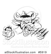 Vector Illustration of a Black and White Attacking Aggressive Bull Breaking Through a Wall by AtStockIllustration