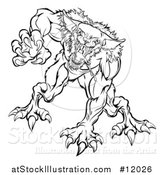 Vector Illustration of a Black and White Attacking Werewolf Beast by AtStockIllustration