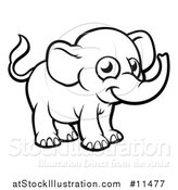 Vector Illustration of a Black and White Baby Elephant by AtStockIllustration