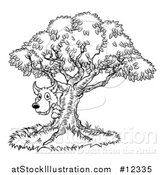 Vector Illustration of a Black and White Bad Wolf Peeking from Behind a Tree, the Three Little Pigs Story by AtStockIllustration