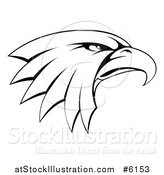Vector Illustration of a Black and White Bald Eagle Head in Profile by AtStockIllustration