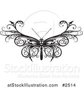 Vector Illustration of a Black and White Barbed Moth or Butterfly by AtStockIllustration