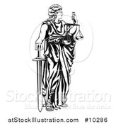 Vector Illustration of a Black and White Blindfolded Lady Justice Holding Scales and a Sword by AtStockIllustration