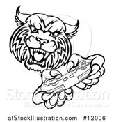 Vector Illustration of a Black and White Bobcat Mascot Playing a Video Game by AtStockIllustration