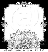 Vector Illustration of a Black and White Border or Wedding Invitation with a Flower by AtStockIllustration