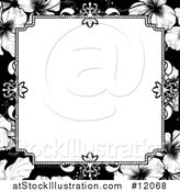 Vector Illustration of a Black and White Border or Wedding Invitation with Hibiscus Flowers by AtStockIllustration