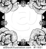 Vector Illustration of a Black and White Border or Wedding Invitation with Roses by AtStockIllustration