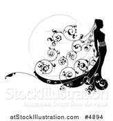 Vector Illustration of a Black and White Bride in Profile, with Floral Swirls by AtStockIllustration
