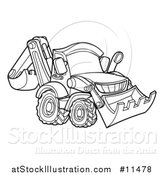 Vector Illustration of a Black and White Bulldozer by AtStockIllustration