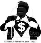Vector Illustration of a Black and White Business Man Ripping Open His Shirt to Show a Dollar Sign by AtStockIllustration