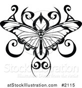 Vector Illustration of a Black and White Butterfly Tattoo Design by AtStockIllustration