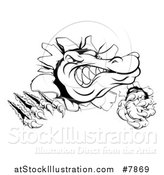 Vector Illustration of a Black and White Cartoon Alligator or Crocodile Monster Slashing Through a Wall by AtStockIllustration