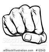Vector Illustration of a Black and White Cartoon Fist Punching by AtStockIllustration