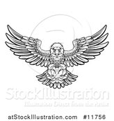 Vector Illustration of a Black and White Cartoon Swooping American Bald Eagle with a Basketball in His Talons by AtStockIllustration