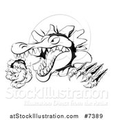 Vector Illustration of a Black and White Cartoon Vicious Alligator or Crocodile Monster Slashing Through a Wall by AtStockIllustration