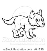 Vector Illustration of a Black and White Cartoon Wolf by AtStockIllustration