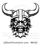 Vector Illustration of a Black and White Cartoon Yelling Male Viking Warrior Face by AtStockIllustration
