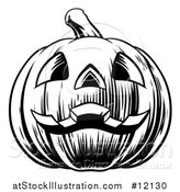 Vector Illustration of a Black and White Carved Halloween Jackolantern Pumpkin by AtStockIllustration