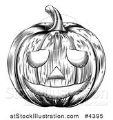 Vector Illustration of a Black and White Carved Halloween Woodcut Jackolantern Pumpkin by AtStockIllustration