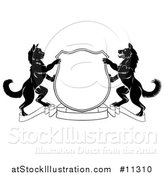 Vector Illustration of a Black and White Cat and Dog Heraldic Coat of Arms Shield by AtStockIllustration
