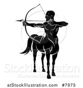 Vector Illustration of a Black and White Centaur Archer, Half Man, Half Horse, Aiming to the Left by AtStockIllustration