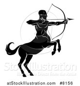 Vector Illustration of a Black and White Centaur Archer, Half Man, Half Horse, Aiming to the Right by AtStockIllustration