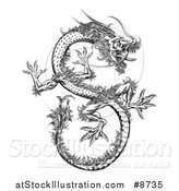 Vector Illustration of a Black and White Chinese Dragon Flying by AtStockIllustration