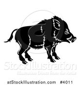 Vector Illustration of a Black and White Chinese Zodiac Boar in Profile by AtStockIllustration